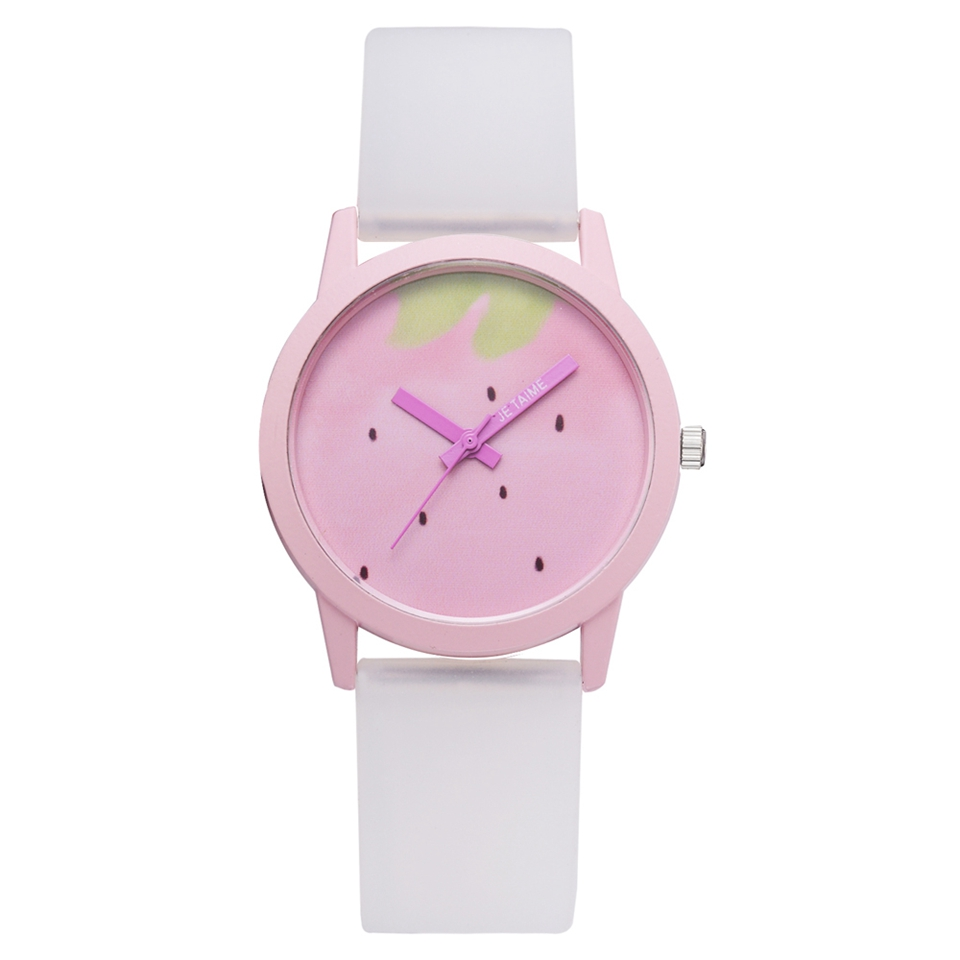 Fashion 2018 Creative Students Quartz Watches Simple Pink Strawberry Silicone Sport Dial Style Wristwatch Dropshipping