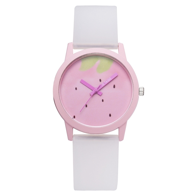 Fashion 2018 Creative Students Quartz Watches Simple Pink Strawberry Silicone Sp
