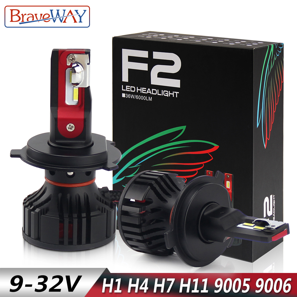 BraveWay H11 H9 H8 LED Lamps for Cars H7 LED H1 H4 LED H7 Canbus 9005