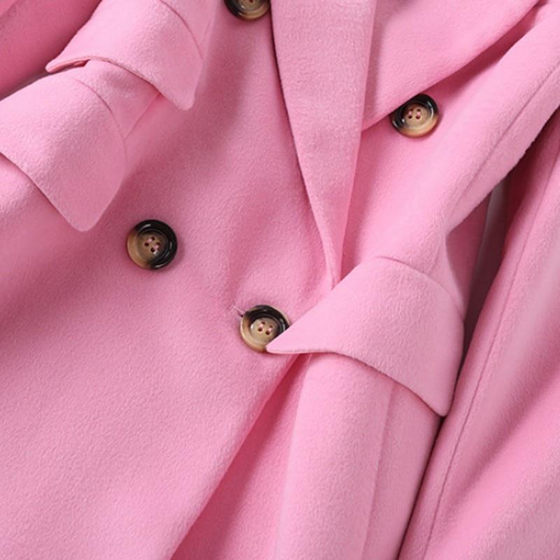 Manteaux Pink Rose Mode Bureau Pardessus Mujer Long Manches Hiver Pleine Laine 2018 Abrigo Mélanges Casual Automne Femmes Unique Poitrine qwZUZE4