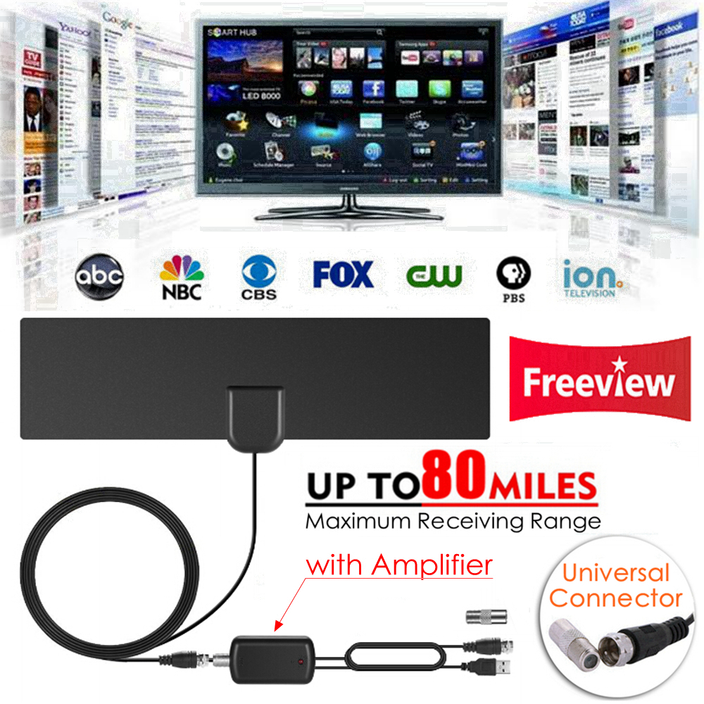 Indoor Free TV Surf Radius Antena Digital HDTV Cable TV Fox Antenna DVB-T/T2 VHF UHF TVSurf Antenas Receiver + Signal Amplifier