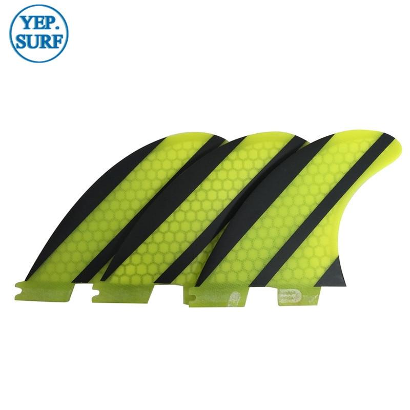 SUP Quilhas FCS Fins G5 Yellow Honeycomb Fiberglass Carbon Fiber - Ջրային մարզաձեւեր - Լուսանկար 5