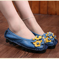 2017 New National Wind Flowers Handmade Genuine Leather Shoes Women Retro Soft Bottom Flat Shoes Summer Canvas Ballet Flats