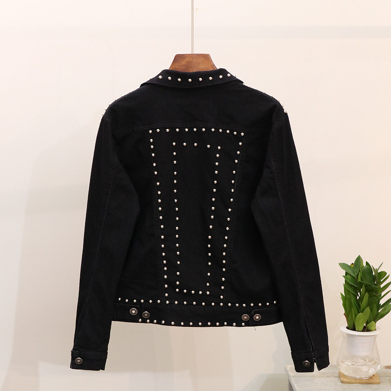 2018 Femmes Denim Rivet Casual Manteau Longues Jeans Punk 2 De Mode Revers Automne Vestes Nouvelle Outwear Court Lâche 1 Femme Manches rOWnZtCqrw