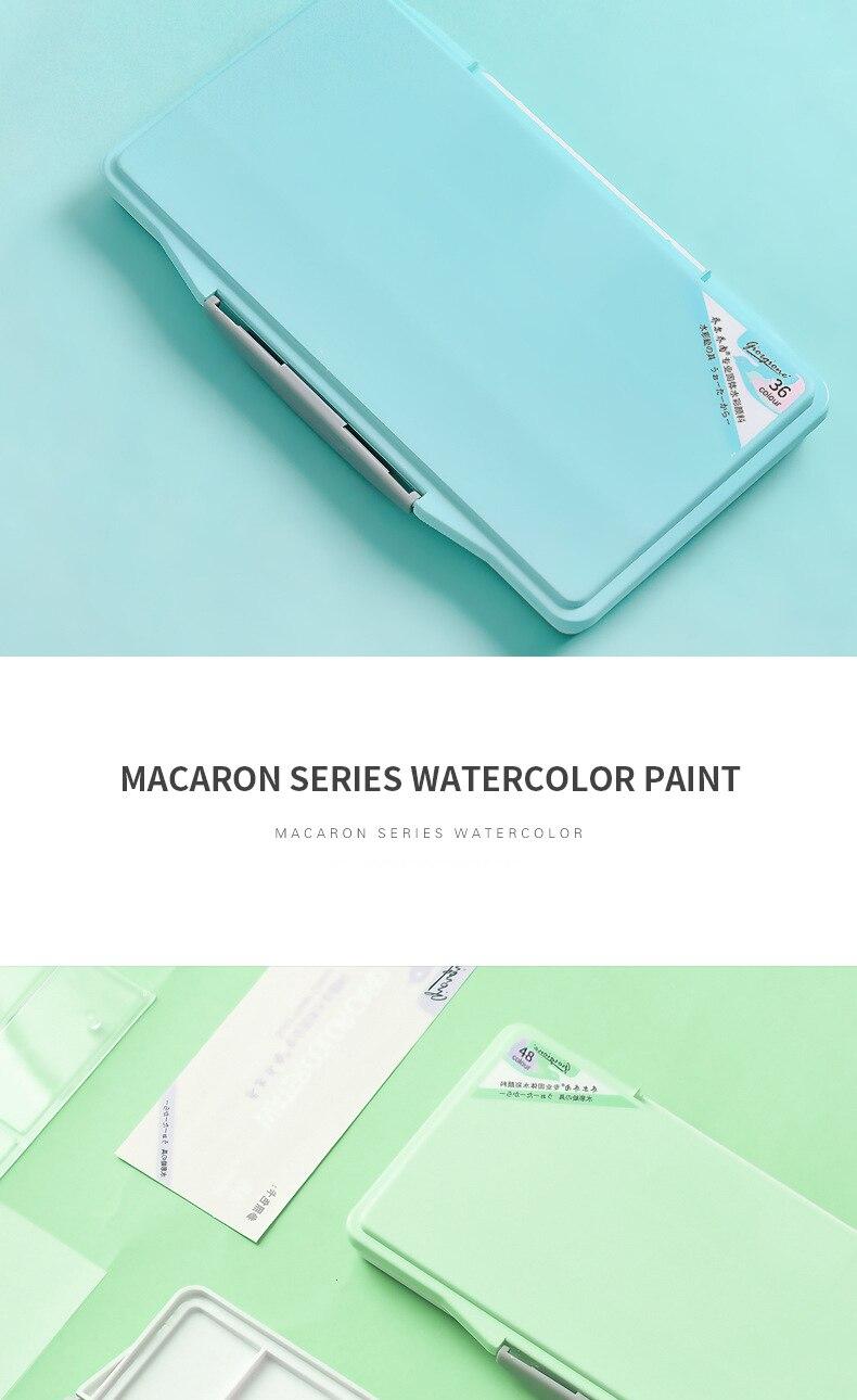 Macaron estilo sólido aquarela pigmento conjunto 24