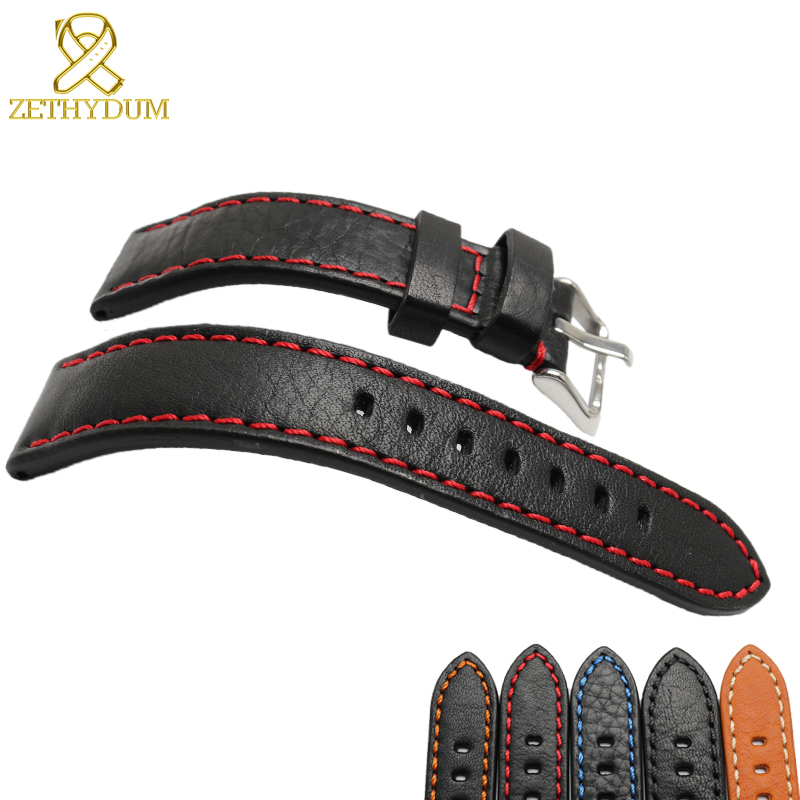 Genuine leather bracelet 20mm 22mm 24mm Italian cowhide watchband mens wristwatches band accessories Red stitching watch zlimsn genuine leather watchband bracelet 24mm 22mm 20mm thick watch strap belt with clasp wristwatch accessories band