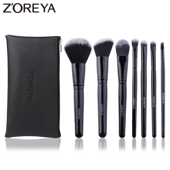 Zoreya Brand Black Angled Blush Cruelty Free Makeup Brushes Comfortable Synthetic Powder Eye Shadow Concealer 7pcs Cosmetic Set