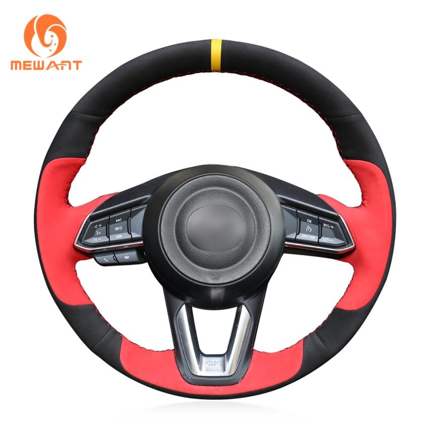 Black Suede Red Suede Steering Wheel Cover for Mazda 3 Axela 2017-2019 Mazda 6 Atenza 2017-2019 CX-5 CX5 2017-2019 Mazda CX-9