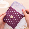 5Colors Girls Female Soft Cotton Bowknot Hygiene Sanitary Napkins Pads Carrying Easy Bag Small Pouch Case Bag Package Storage
