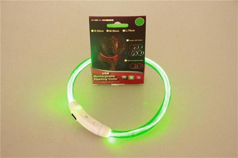 E68 Dogs light Collar Adjustable LED Dog USB Rechargeable Night Safety Light Up Flashing Pet