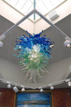 High Ceiling Hand Blown Art Glass Big Chandelier With LED Bulbs
