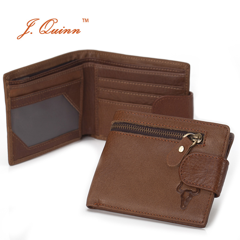 J.Quinn Double Zipper Wallet Leather Genuine Soft Thin Hipster Men Purse Hasp Bifold Classic College Wallets for Man New 2016