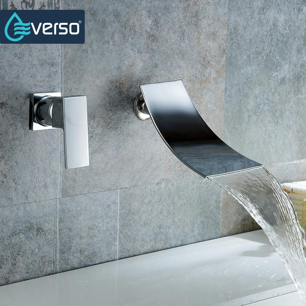 EVERSO Waterfall Basin Faucet Hot And Cold Mixer Tap Bath Filler Spout Sink Faucet Wall Mounted