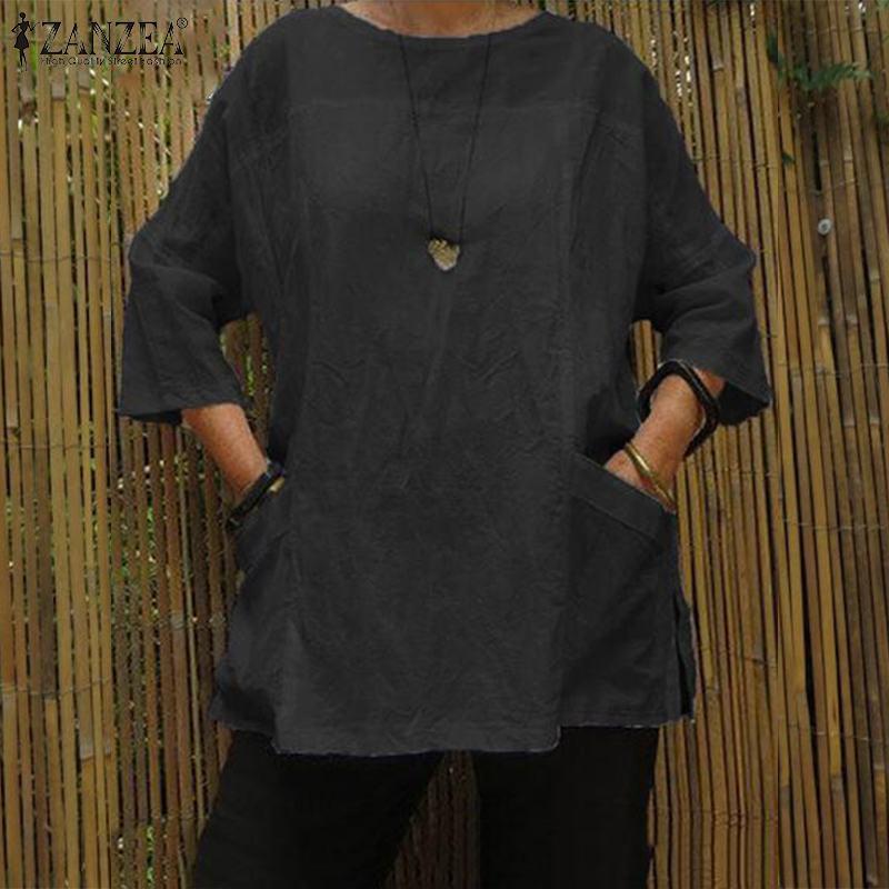 Plus Size Blouse ZANZEA Women 3/4 Sleeve Solid Tops Female Autumn Cotton Linen Shirt Robe Femme Loose Chemise Mujer Blusas