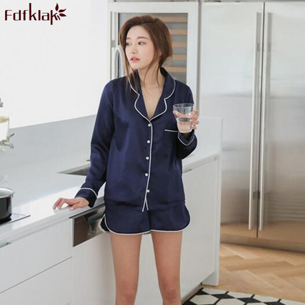 59b0be7e5b Plus Size M-XXL Summer Pajamas Women Silk Pajama Shorts Sexy Pijama  Nightwear Long Sleeve Satin Pajamas Women Sleepwear Sets