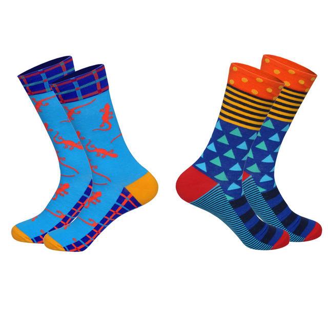 Lionzone Brand 2018 Hot 2Pairs/Lot Men Brand Socks Funny Colorful Patterns Streetwear Combed Cotton Dress Happy Socks Gentleman