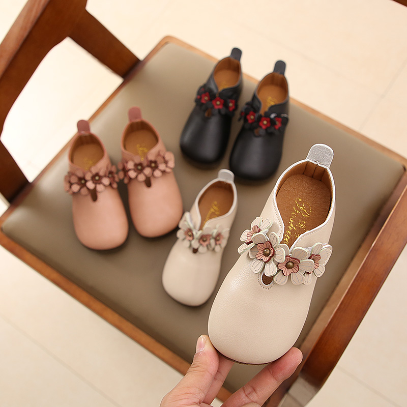 New Flowers Children Toddler Baby Little Girls White Black Pink Casual Leather Shoes For Girls Dance Shoes 1 2 3 4 5 6 7 Years