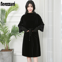 Nerazzurri Ladies velvet dress with pockets women drawstring elegant ribbed long sleeve black red plus size midi dress 5xl 6xl