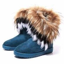 Mode Fuchspelz Warmen Herbst Winter Keile Schnee Frauen Stiefel Schuhe GenuineI Mitation Dame Kurze Stiefel Casual Lange Schnee Schuhe