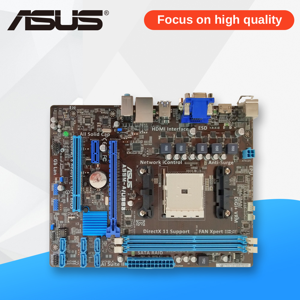 Asus A55M-A/USB3 Desktop Motherboard A55M A55M-A/USB3 Socket AMD FM2 DDR3 USB3.0 ATX gigabyte ga 870a usb3 original used desktop motherboard amd 870 socket am3 ddr3 sata3 usb3 0 atx
