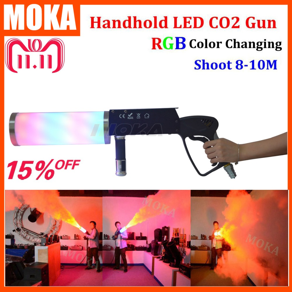 Handhold LED CO2 DJ Gun CO2 Jet Gun Machine with 7 colors tube 4x3w RGB LED colorful Gun LED Co2 Pistol Special Effect Equipment цена