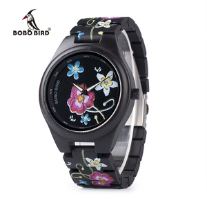 Image 1 - BOBO BIRD WP06 Fashion Colorful Print Wood Watch for Men Women Newest Imitate Embroidery Brand Design Quartz Watches as Gift