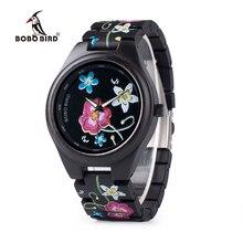 BOBO BIRD WP06 Reloj de madera con estampado colorido para hombre y mujer, nuevo, imitación bordado, marca de diseño, relojes de cuarzo como regalo