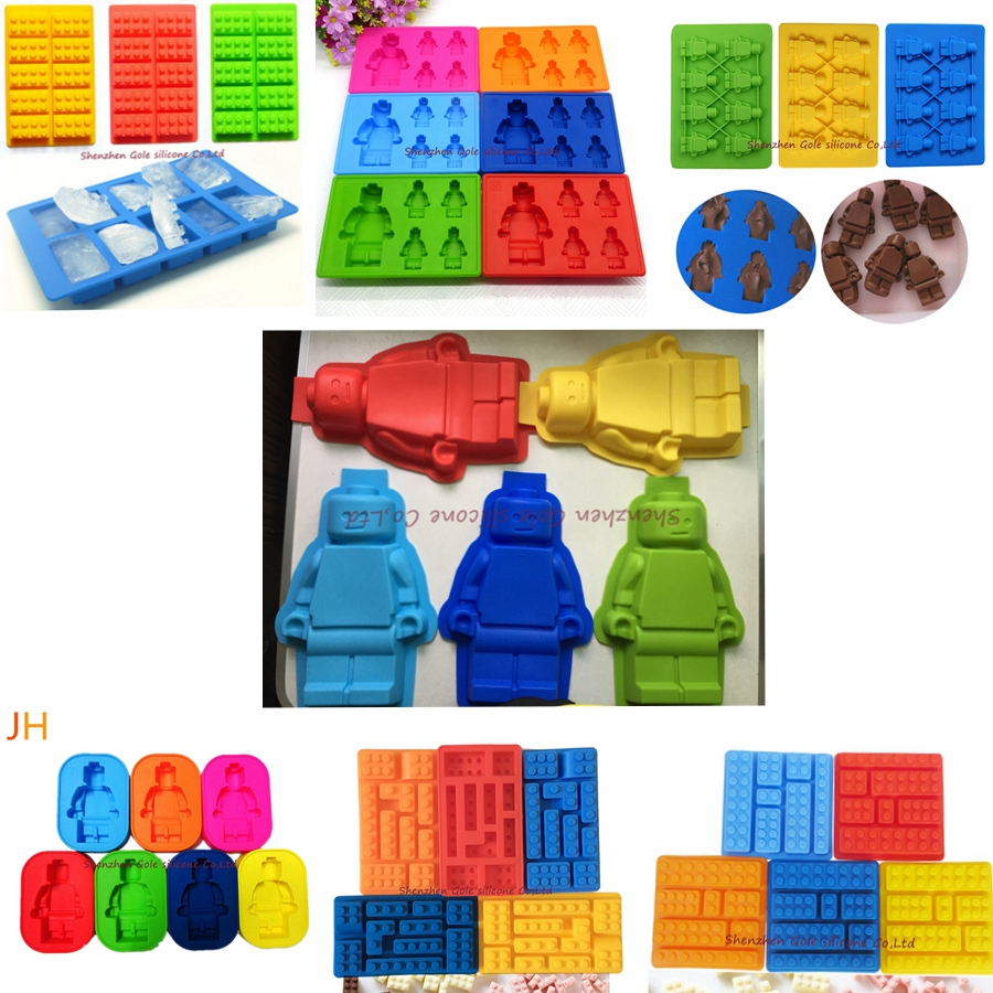200pcs 7 style Silicone toy Brick & Minifigure Man Robot shape ilicone Fandont Chocolate Mold Ice Cube Ice Trays Baking Pan