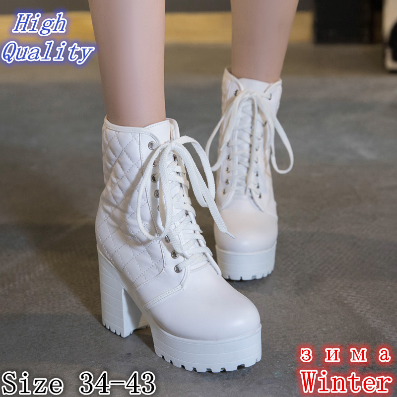 Winter Warm Platform Square High Heels Ankle Snow Boots Women Short Boots Ladies Shoes botas botte Plus Size 34-40.41.42.43