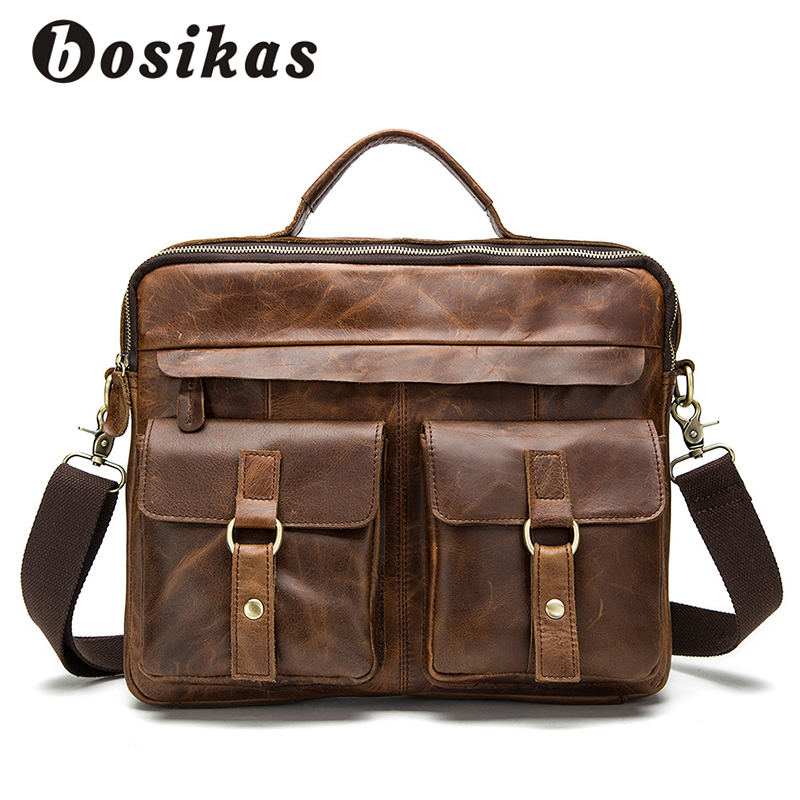 BOSIKAS NEW Men Bag Briefcases Genuine Leather Crossbody Bags Messenger Totes Leather Handbags Laptop Bag Zipper Shoulder Bags lacus jerry genuine cowhide leather men bag crossbody bags men s travel shoulder messenger bag tote laptop briefcases handbags