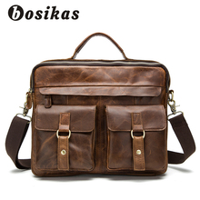 BOSIKAS NEW Men Bag Briefcases Genuine Leather Crossbody Bags Messenger Totes Leather Handbags Laptop Bag Zipper Shoulder Bags