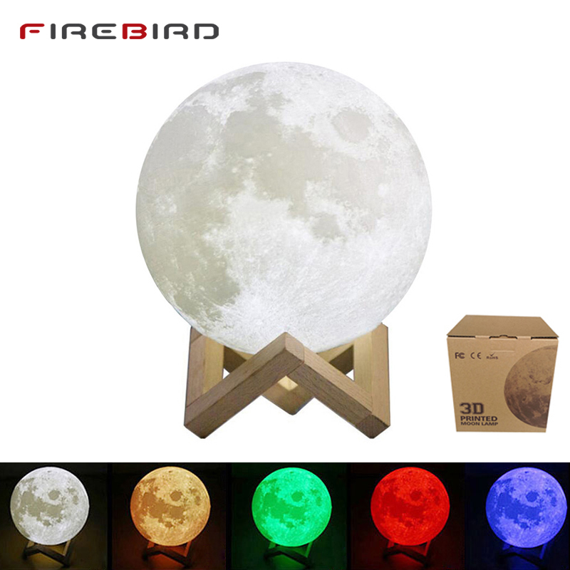 LED Night Light Moon Lamp For Child 3D Print 16 Colors Change Remote Control Bedroom Night