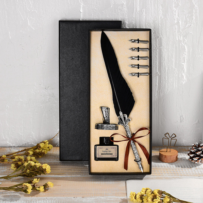 Retro Quill Feather Dip Pen Writing Ink Set Stationery Gift Box with 5 Nib Wedding Gift Quill Pen Fountain Pen Mother 39 s Day Gift in Fountain Pens from Office amp School Supplies