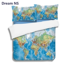 Buy world map bedding and get free shipping on aliexpress dream ns vivid world map bedding set blue ocean duvet cover with pillowcase queen size for gumiabroncs Choice Image