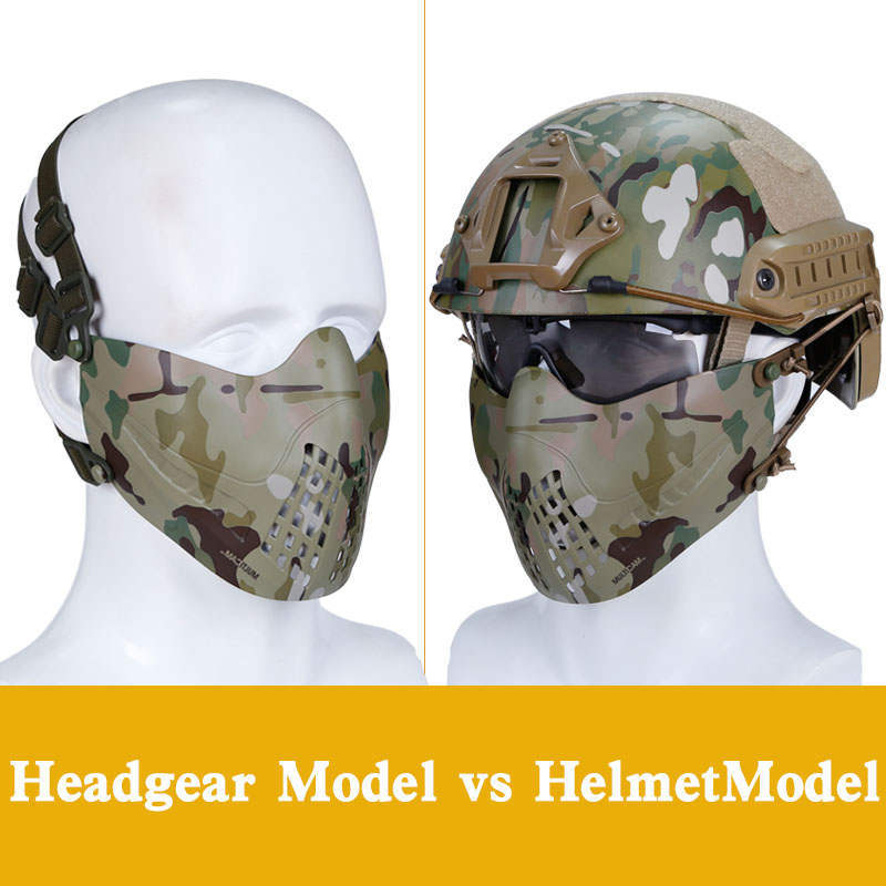 Adjustable Foldable Tactical Paintball Half Face Lower Mask Airsoft Mesh Mask With Ear Protection For Airsoft Hunting Paintball