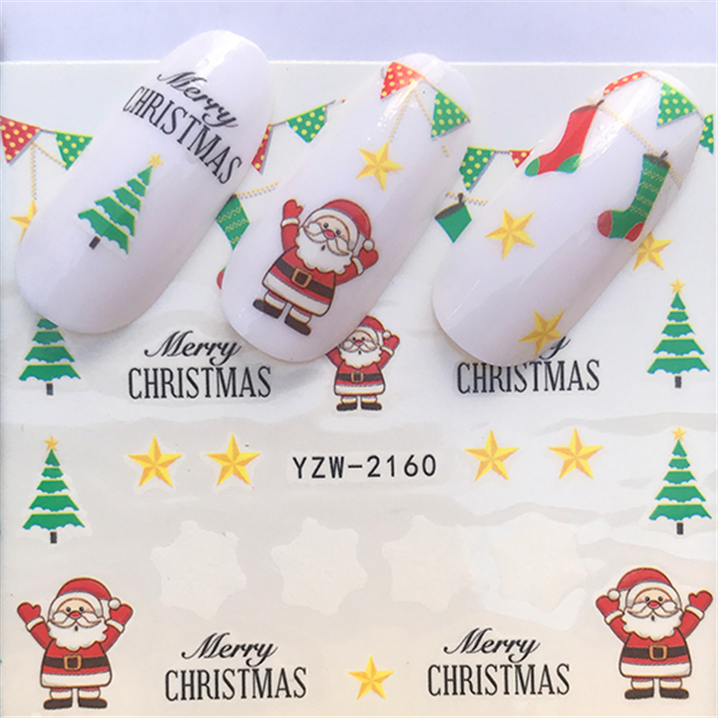LCJ  Christmas Nail Stickers DIY Nail Art Tattoo Decals Self Adhesive Tip Stickers Decoration 5