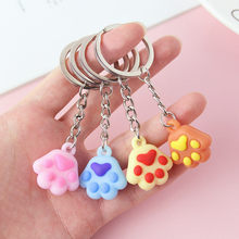 Wholesale Mixed Color Enamel Cat Dog/Bear Paw Prints Rotating Lobster Clasp Key Chain Keyrings For keychain bag Jewelry Making(China)