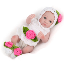 NPKDOLL Mini Reborn Baby Doll Lifelike silicone Bath toys for girls Sleeping girl doll for newborn kids Christmas Gift 10 inch