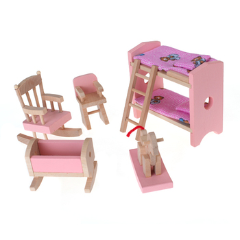 Кукольный домик мебель деревянная миниатюрная детская комната кроватка стул кровать детский подарок розовый