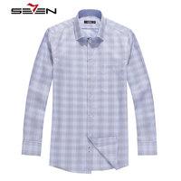 Seven7 Brand 2017 Men Dress Shirts Plaid 100 Cotton Business Casual Slim Fit Long Sleeve Camisa