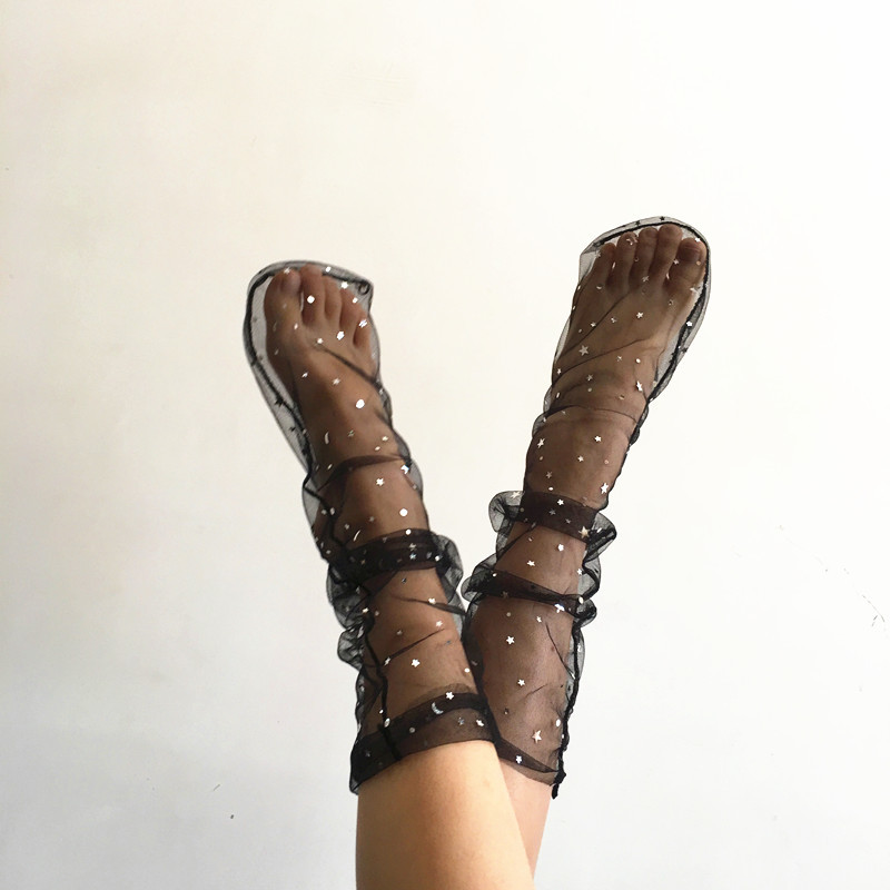 Summer Unique Design Sequins Star Shiny Socks Fairy Transparent Short Harajuku Socks Women Modern Creative Thin Glitter Socks