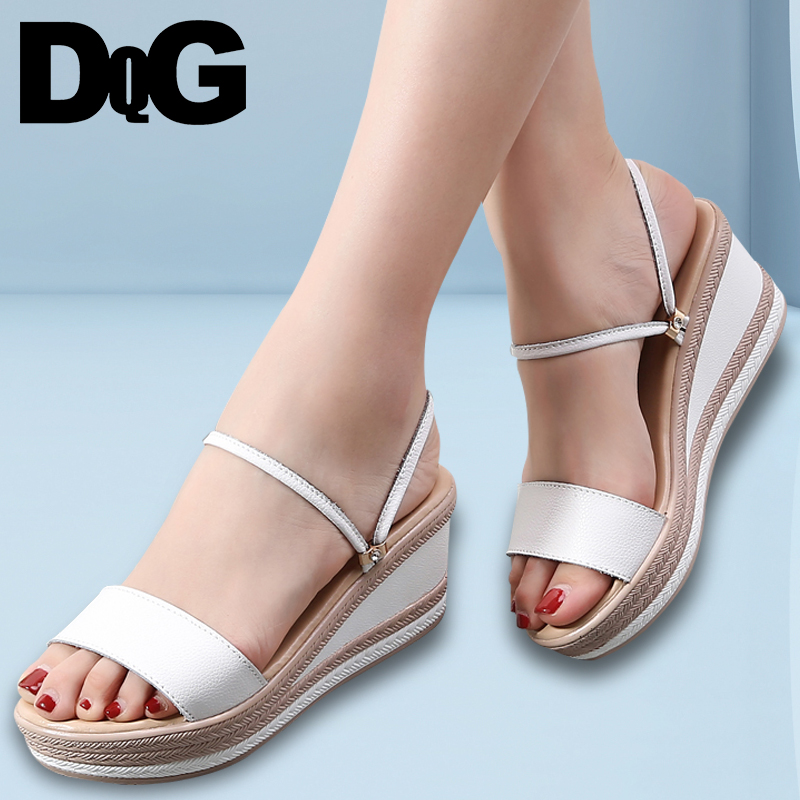 DQG 2018 Summer Sandals Women Shoes Casual Solid Silp On Wedges Ladies Sandalias Ankle High Heels Platform Chaussures Femme