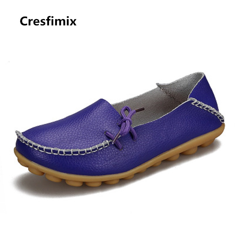 Cresfimix sapatos femininas women fashion comfortable spring & summer slip on leather flat shoes lady genuine leather shoes 2105 cresfimix sapatos femininas women casual black spring