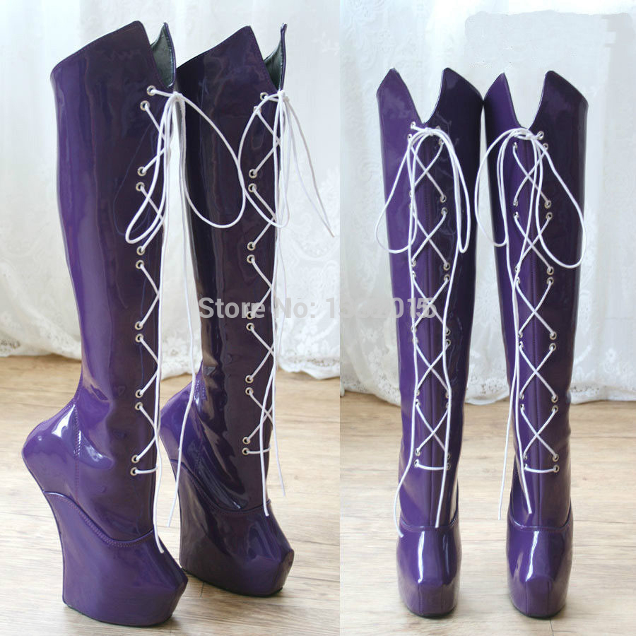 2015 Rushed Boots Knee High Laceup Extreme 20Cm Sex Fetish -3815