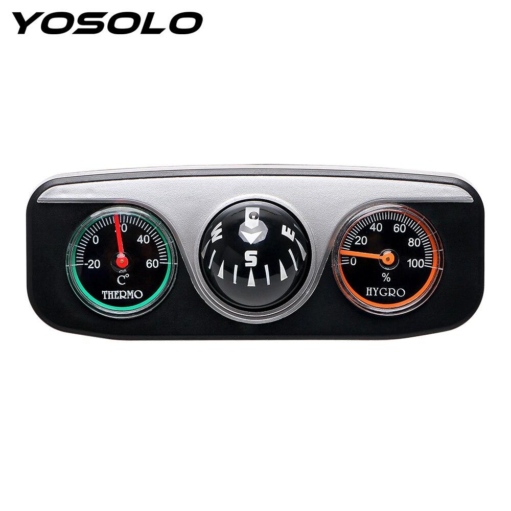 YOSOLO Guide Ball Compass Thermometer Hygrometer For Auto Boat Vehicles Decoration 3 in 1 Interior Accessories Car Ornaments