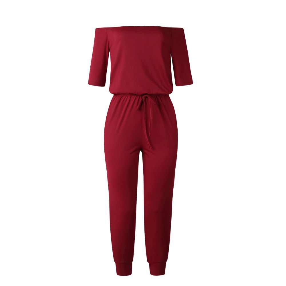 rompers womens jumpsuit summer 2019 off shoulder fitted jumpsuit long pants one piece outfit casual rompers plus size 101168