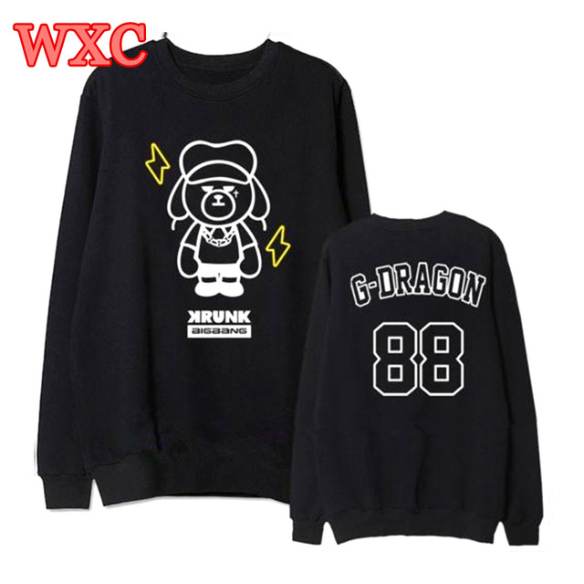 Kpop Hoodies Bigbang G Dragon Sweatshirts Pullover Unisex Long Sleeve Bears Coat School Hoodie WXC