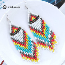 Bohemian national wind restoring ancient ways is Europe and America, exaggerated long tassel earrings m handmade jewelry pea