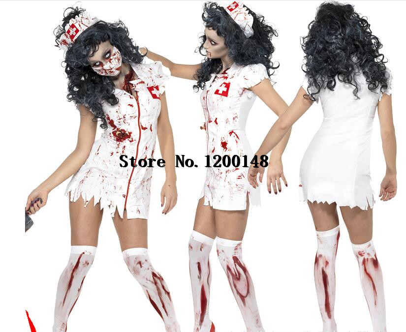Sexy Lady Halloween Scary Bloody Mary Nurse Costumes Nurse Cosplay Dress Halloween Theme Party Zombie Nurse Devil Ghost Costumes