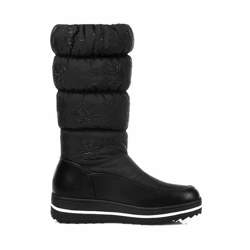 MEMUNIA moda yeni gelmesi kadın çizmeler siyah mavi kar botları platformu Aşağı Su Geçirmez orta buzağı çizmeler takozlar bayan botları